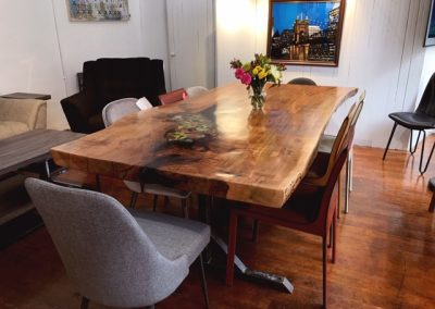 Custom Live Edge Maple Table w/ Stained Glass Detail