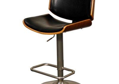 Black and Walnut Plywood Height Adjustable Bar Stools