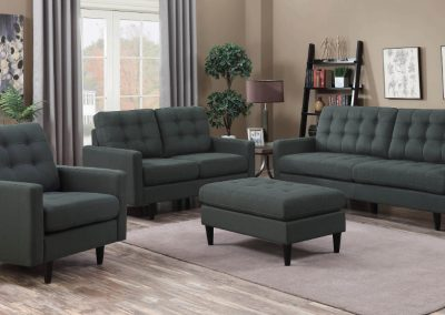 Grey Tufted Sofa Set