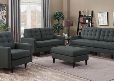 Grey Tufted Sofa Set