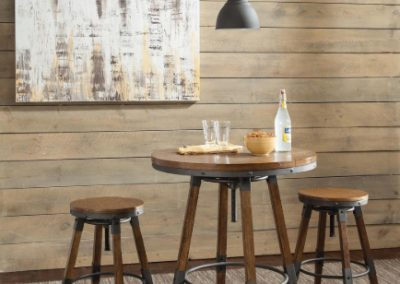 Height Adjustable Rustic Wood and Metal Bar Table and Stools