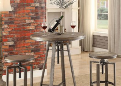 Height Adjustable Weathered Bar Table and Stools