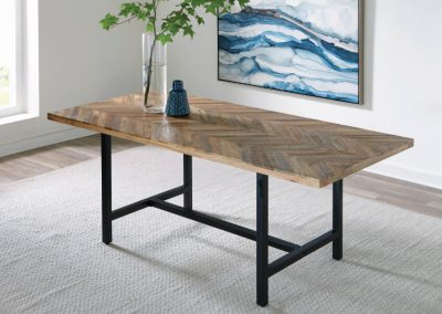 Mango Wood Chevron Dining Table