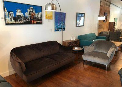 Natuzzi Editions Velvet Sofa and Chair