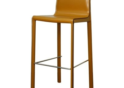 Recycled Leather Chestnut Bar Stool