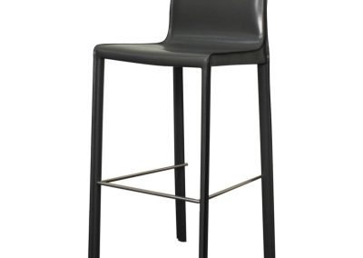 Recycled Leather Grey Bar Stool