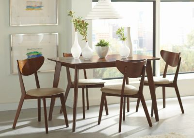 Walnut Mid Century Modern Style Dining Table and Chairs