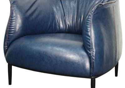 Blue Vegan Leather Oversized Accent Chair