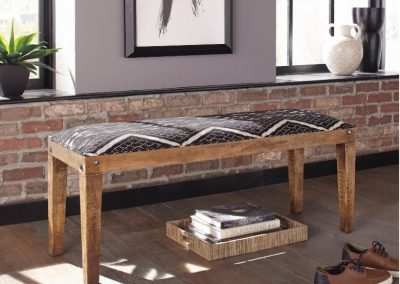 Bohemian Upholstered Wood Bench