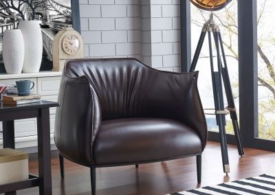 Brown Vegan Leather Oversized Accent Chair