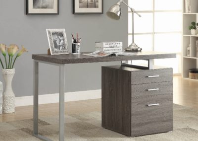 Contemporary Weathered Grey Writing Desk with Drawers
