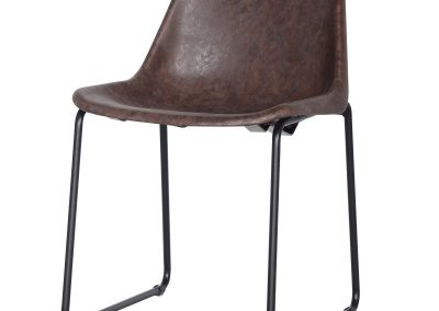 Distressed Brown Stackable Sled Based Dining Chair
