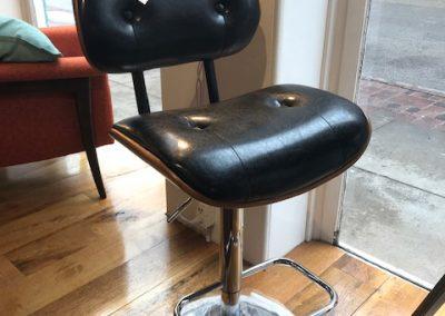 Eames Style Walnut Plywood Black Height Adjustable Bar Stool