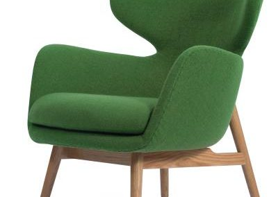 Green Mid Century Modern Accent Chair with Natural Legs