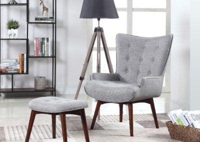Grey Mid Century Chair and Ottoman