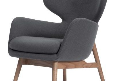 Grey Mid Century Modern Accent Chair with Natural Legs