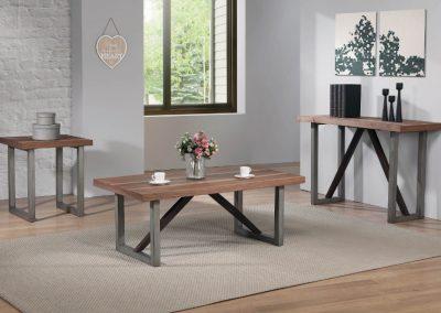 Industrial Walnut Coffee Table Set