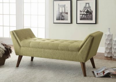 Light Green Mid-Century Modern Accent Bench