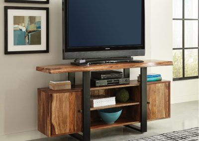 Live Edge Wood and Metal Entertainment Center