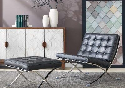 Mid Century Modern Barcelona Replica Black Chair and Ottoman