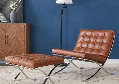 Mid Century Modern Barcelona Replica Caramel Chair and Ottoman