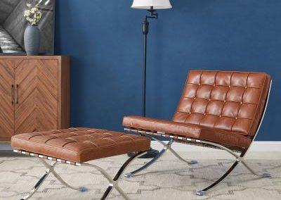 Mid Century Modern Barcelona Replica Caramel Chair and Ottoman
