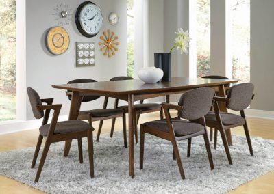 Mid-Century Modern Dark Walnut Dining Table and Chairs