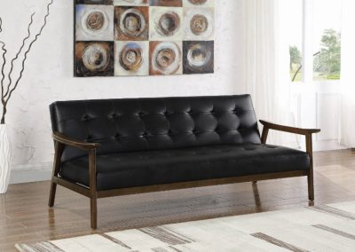 Mid Century Modern Wood and Black Tufted Futon