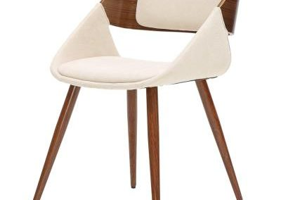 Modern Cream and Walnut Dining Chair