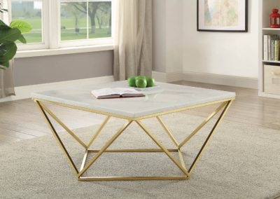 Modern White and Brass Geometric Coffee Table