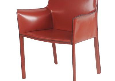 Recycled Leather Cordovan Arm Dining Chair