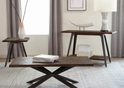 Rustic Dark Brown Industrial Coffee Table Set