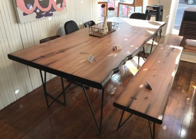 Rustic Live Edge Look Dining Table w Bench