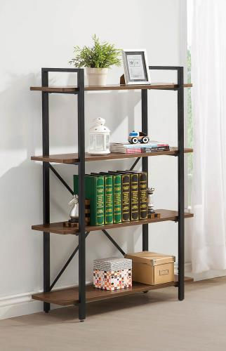 Rustic Wood and Metal Bookcase