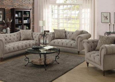 Tan Herringbone Camelback Sofa