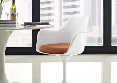 Tulip Arm Chair with Orange Cushion