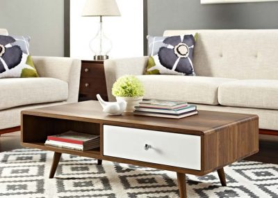 Walnut Coffee Table with White Drawer