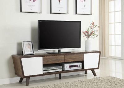 Walnut Mid Century Modern Entertainment Center with White Doors
