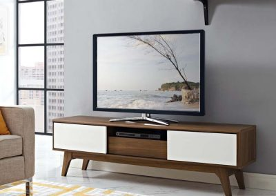 Walnut TV Stand White Drawers 59in 1966