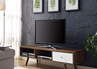 Walnut TV Stand with White Drawer 1966